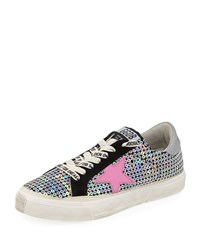 Golden Goose May Sequin Embellished Platform Low Top Sneakers Silver