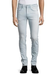 Selected Buttoned Skinny Jeans Light Blue
