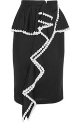 Givenchy Faux Pearl Embellished Jersey Peplum Skirt Black