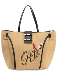 4959131356 Roger Vivier Large Viv  Embroidered Tote Bag Natural