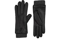 Barneys New York Women's Extended Cuff Leather Gloves Black Dark Grey