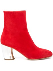 Proenza Schouler Suede Curved Heel Ankle Boot Red