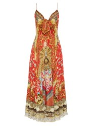 Camilla Cameos Dance Print Silk Crepe Dress Red Multi