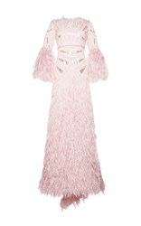 Costarellos Silk Yarn Feather Long Sleeve Gown Pink