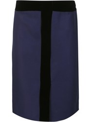 Carolina Herrera Velvet Detail Pencil Skirt Blue