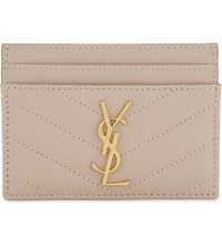 Saint Laurent Monogram Quilted Leather Card Holder Rose Antic