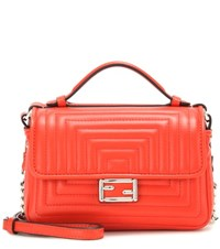 Fendi Double Micro Baguette Leather Shoulder Bag Red