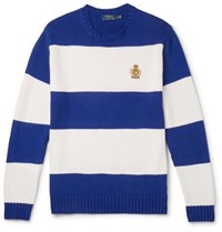 Polo Ralph Lauren Logo Embroidered Striped Cotton Sweater Royal Blue