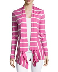 Neiman Marcus Striped Cashmere Waterfall Cardigan Women's