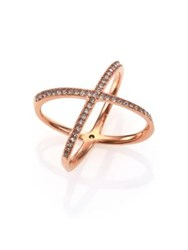Michael Kors Brilliance Statement Pave X Ring Rose Goldtone