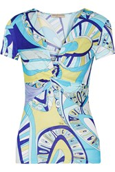 Emilio Pucci Twisted Printed Stretch Jersey Top Blue