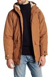 Ben Sherman Funnel Neck Faux Shearling Hooded Jacket Brown