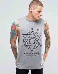 Asos Linen Look Sleeveless T Shirt With Gothic Print And Extreme Dropped Armhole Grey