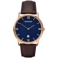 Sekonda 1091.27 Men's Rose Gold Plated Stainless Steel Leather Strap Watch Brown Blue
