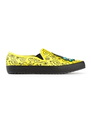 Adidas Originals Jeremy Scott Embroidered Slip On Sneakers Yellow And Orange