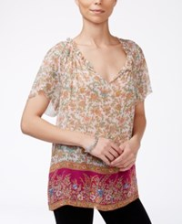 Lucky Brand Floral Print Peasant Top Pink Multi