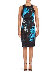 Carmen Marc Valvo Cotton Blend Floral Dress Turquoise