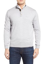 Men's Thomas Dean Merino Wool Sweater Light Grey