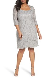 Alex Evenings Plus Size Women's Scallop Edge Sequin Lace Shift Dress