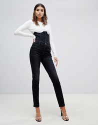 Miss Sixty Highwaisted Corset Detail Skinny Jean Black