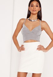 Missguided Slinky Bralet Silver Grey
