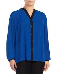 Jones New York Plus Crepe Hi Lo Blouse Blue