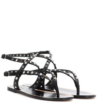Isabel Marant Audrio Embellished Leather Sandals Black