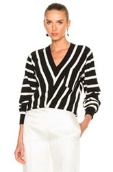 Chloe Sailor Stripe V Neck Sweater In Black Stripes White Black Stripes White