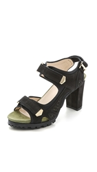 Preen Tonika Suede Sandals Black