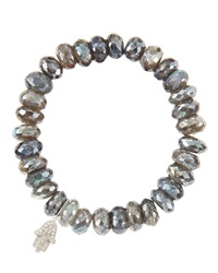 Sydney Evan 10Mm Mystic Labradorite Beaded Bracelet With 14K White Gold Diamond Small Hamsa Charm Made To Order