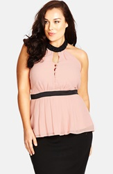 City Chic 'Opera Night' Embellished Halter Top Plus Size Shell Pink