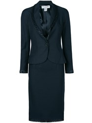 Christian Dior Vintage Braided Detail Skirt Suit Blue