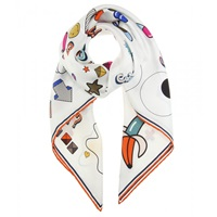 Anya Hindmarch All Over Sticker Printed Silk Scarf