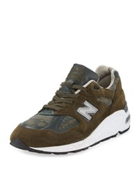 New Balance Men's 990 Distinct Leather Suede Sneaker Green Olive Green Camo