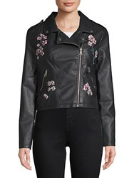 Candc California Embroidered Moto Jacket Black