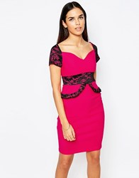 Vesper Loretta Cap Sleeve Pencil Dress With Lace Peplum Detail Pink