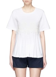 Chloe Floral Guipure Lace Jersey T Shirt White
