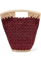Carrie Forbes Lily Woven Faux Raffia Bucket Bag Burgundy