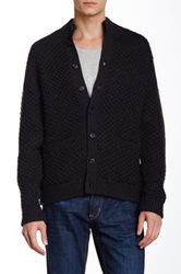 Billy Reid Cable Knit Mock Cardigan Black