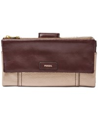 Fossil Ellis Leather Clutch Wallet Taupe Metallic
