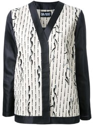 Dalood V Neck Tweed Jacket White