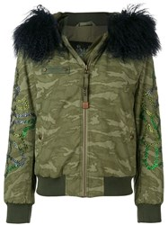 Mr And Mrs Italy Fur Trimmed Hood Bomber Jacket Green