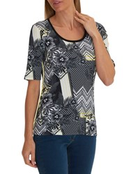 Betty Barclay Lattice Floral Print T Shirt Black Multi