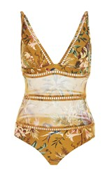 Zimmermann Tropical Floral Plunge Swimsuit