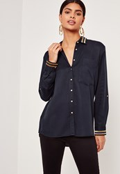 Missguided Tensile Gold Stripe Collar Shirt Navy Blue