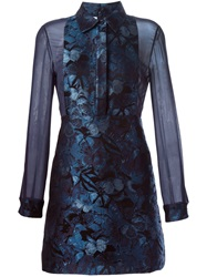 Valentino Butterfly Jacquard Dress Blue