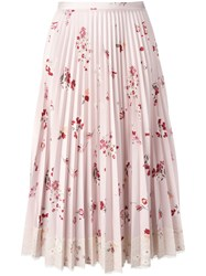 Red Valentino Floral Print Pleated Skirt With Lace Fringe Pink Purple