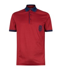 Zilli Contrast Collar Polo Shirt Male Red