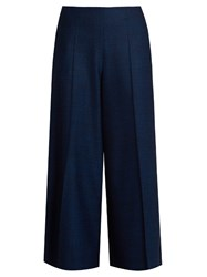 Maison Martin Margiela Mid Rise Wide Leg Stretch Wool Long Culottes Navy