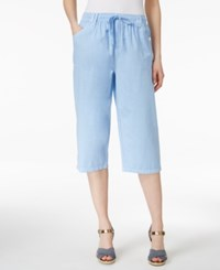 Karen Scott Drawstring Cropped Pants Only At Macy's Blue Whisper